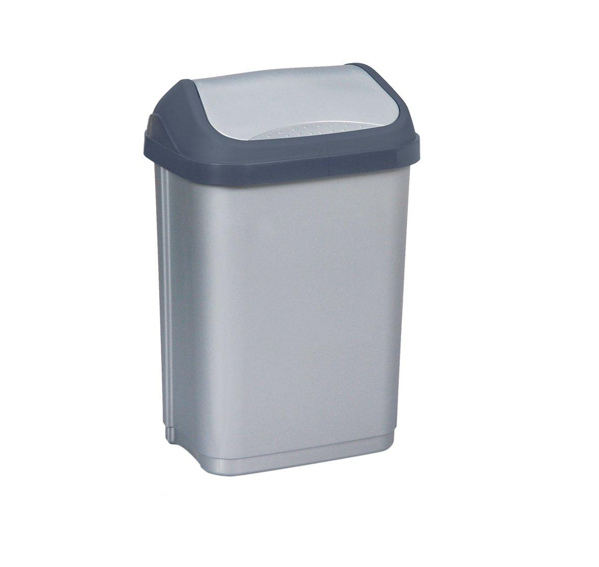 Keeeper Odpadkový koš s kyvným víkem swantje, světle šedý 10L