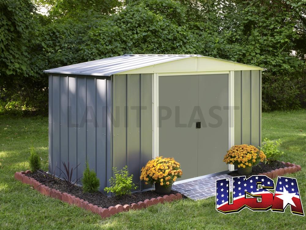 Kovový zahradní domek ARROW DRESDEN 86 (4,26 m2) šedý