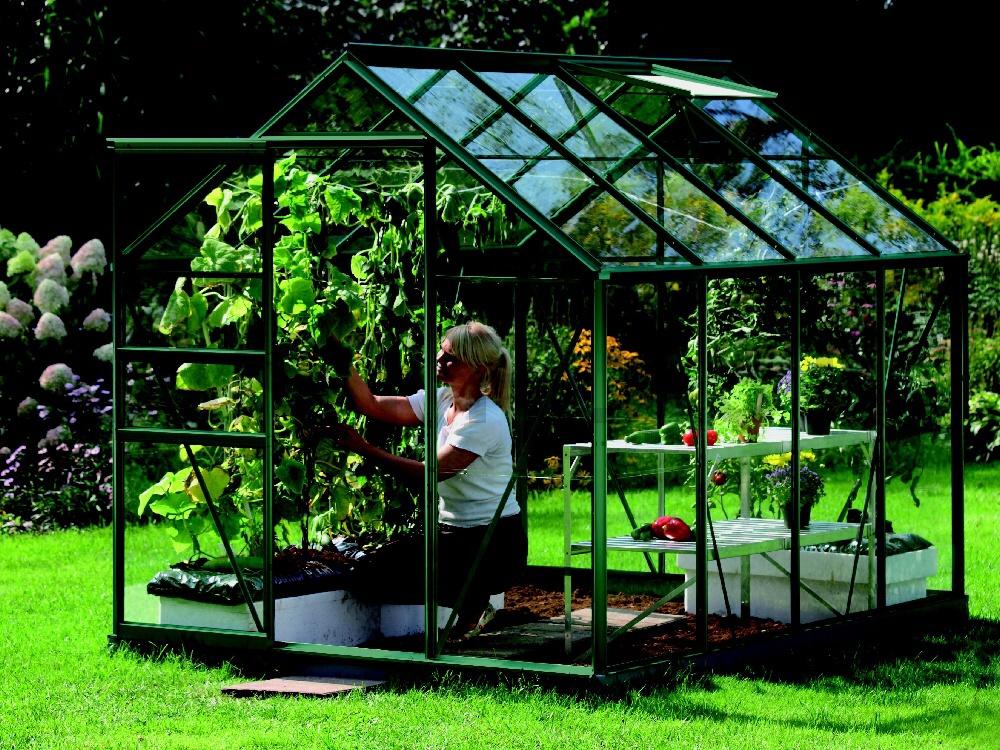 Skleník VENUS 5000 zelený prosklení ze skla 3 mm
