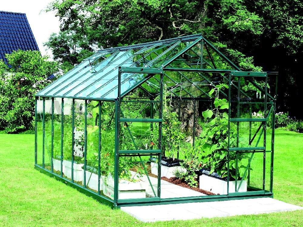 Skleník URANUS 11500 zelený prosklení ze skla 3 mm