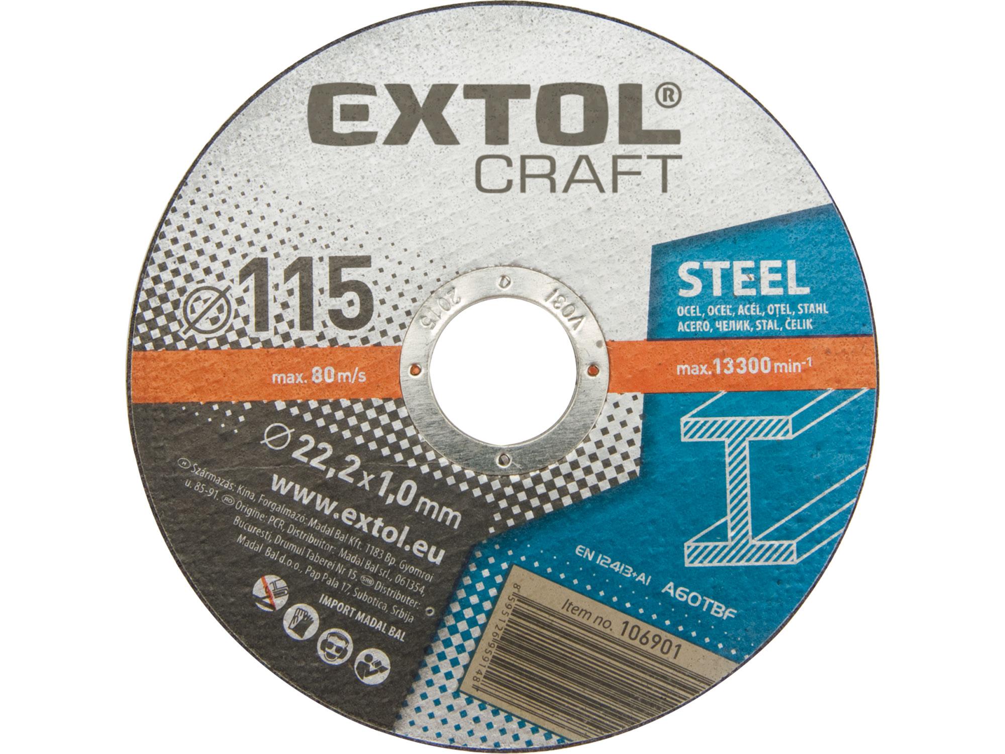 Kotouče řezné na kov, 5ks, 115x1,0x22,2mm EXTOL CRAFT 106901