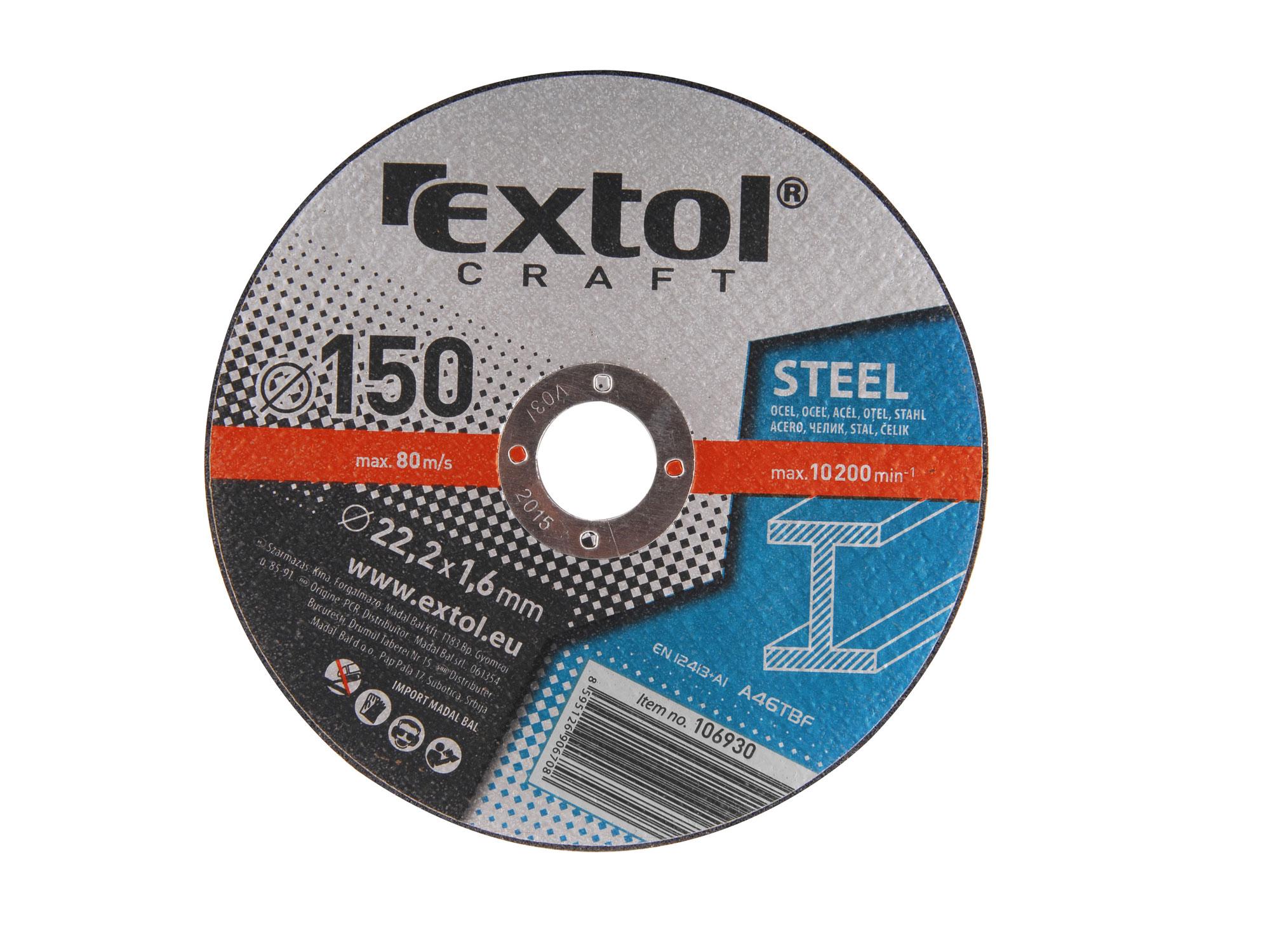 Kotouče řezné na kov, 5ks, 125x1,0x22,2mm EXTOL CRAFT 106902