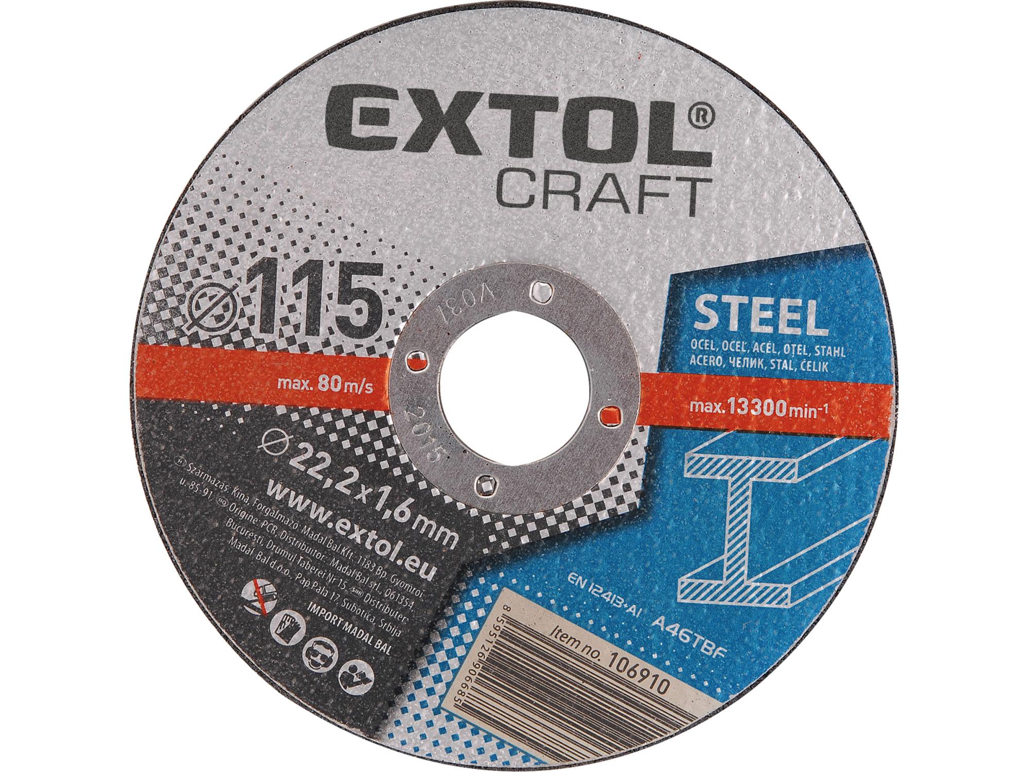 Kotouče řezné na kov, 5ks, 115x1,6x22,2mm EXTOL CRAFT 106910