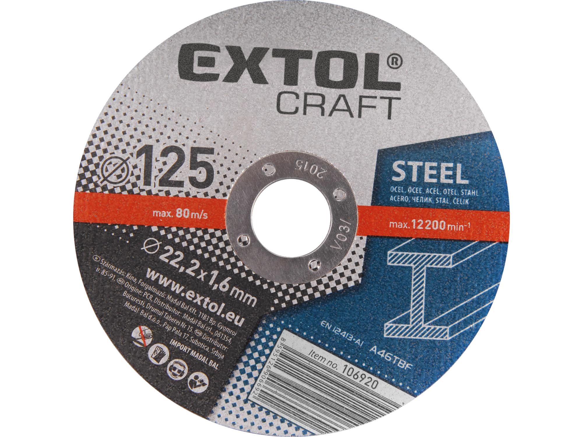 Kotouče řezné na kov, 5ks, 125x1,6x22,2mm EXTOL CRAFT 106920