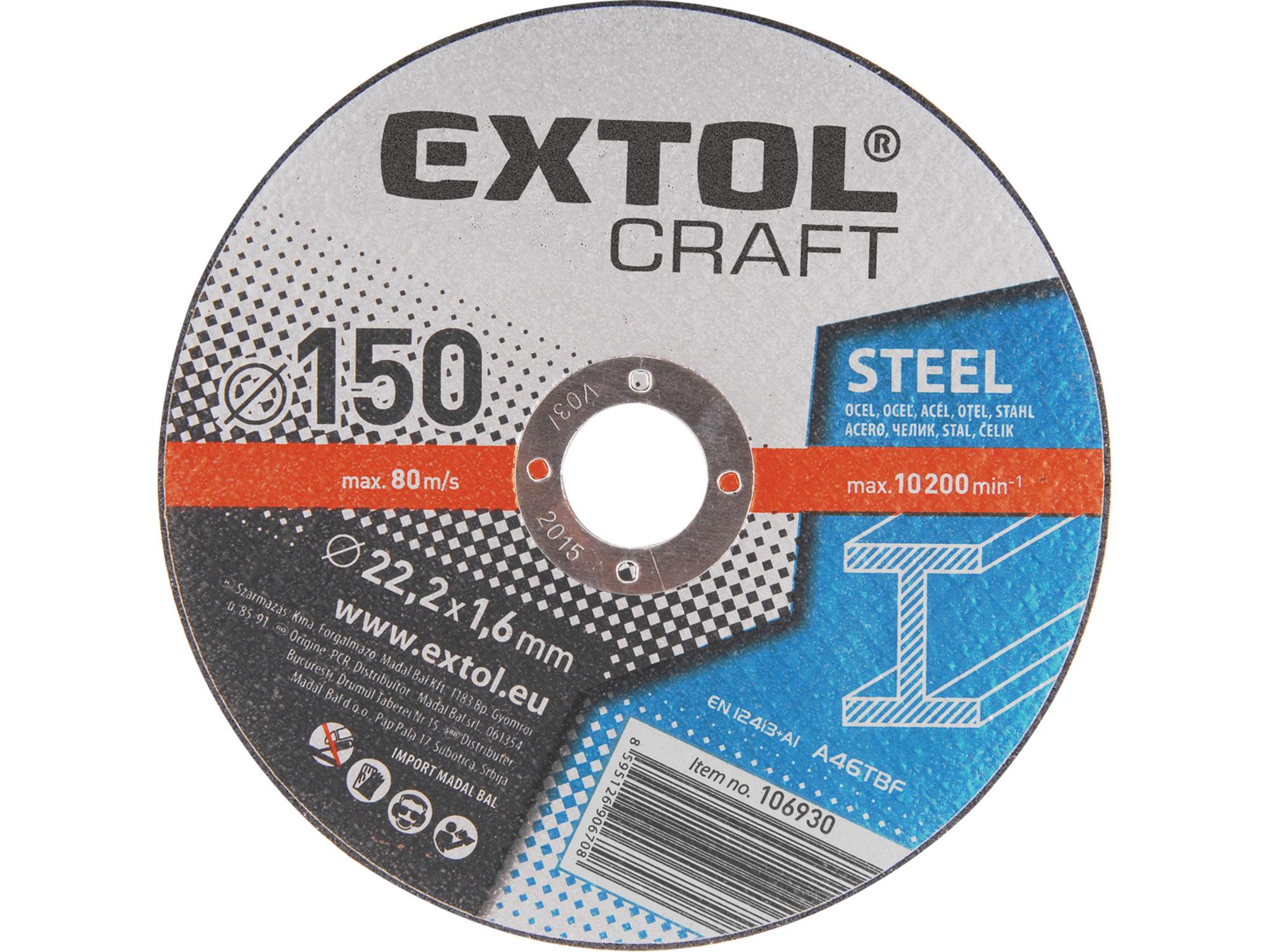 Kotouče řezné na kov, 5ks, 150x1,6x22,2mm EXTOL CRAFT 106930
