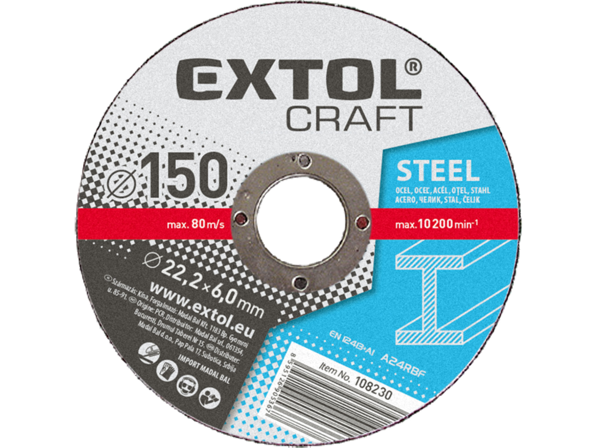 Kotouče brusné na kov, 5ks, 125x6,0x22,2mm 108220 EXTOL CRAFT