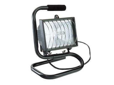 Halogenový zářič, rukojeť, kabel, černý, vč. žárovky. 400 W WORKERS BEST