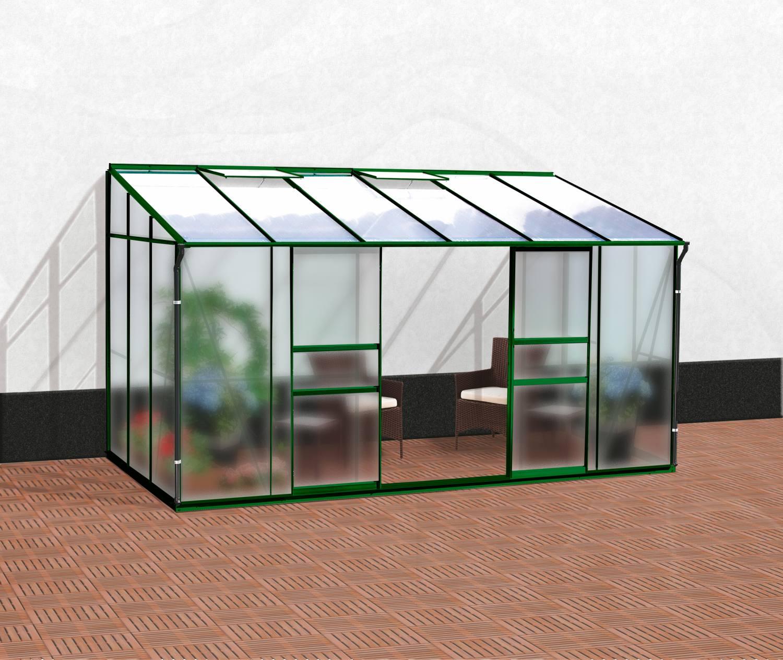 Skleník VITAVIA IDA 7800 matné sklo 4 mm + PC 6 mm zelený