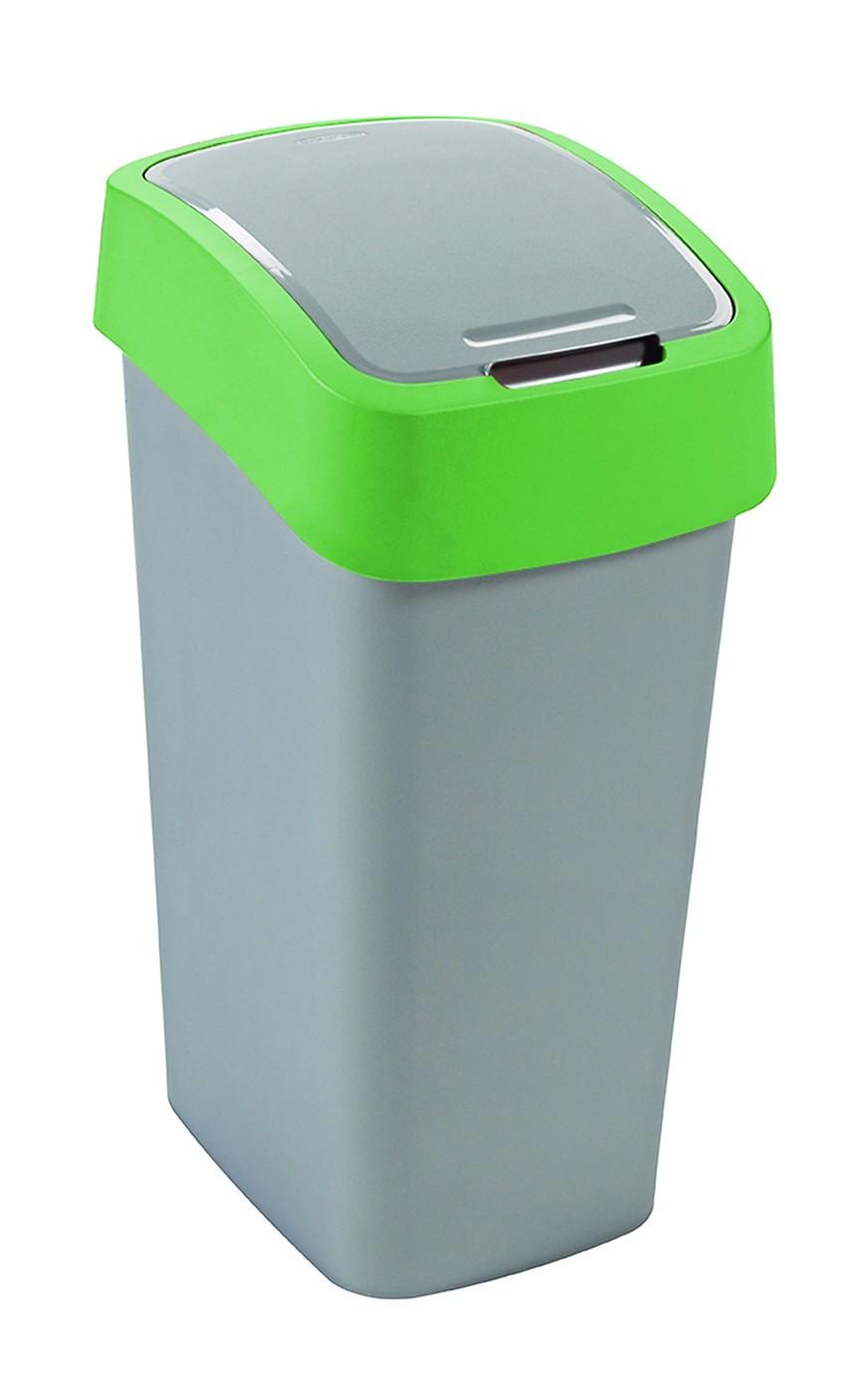 Curver odpadkový koš, FLIP BIN, stříbrný/zelený, 50l