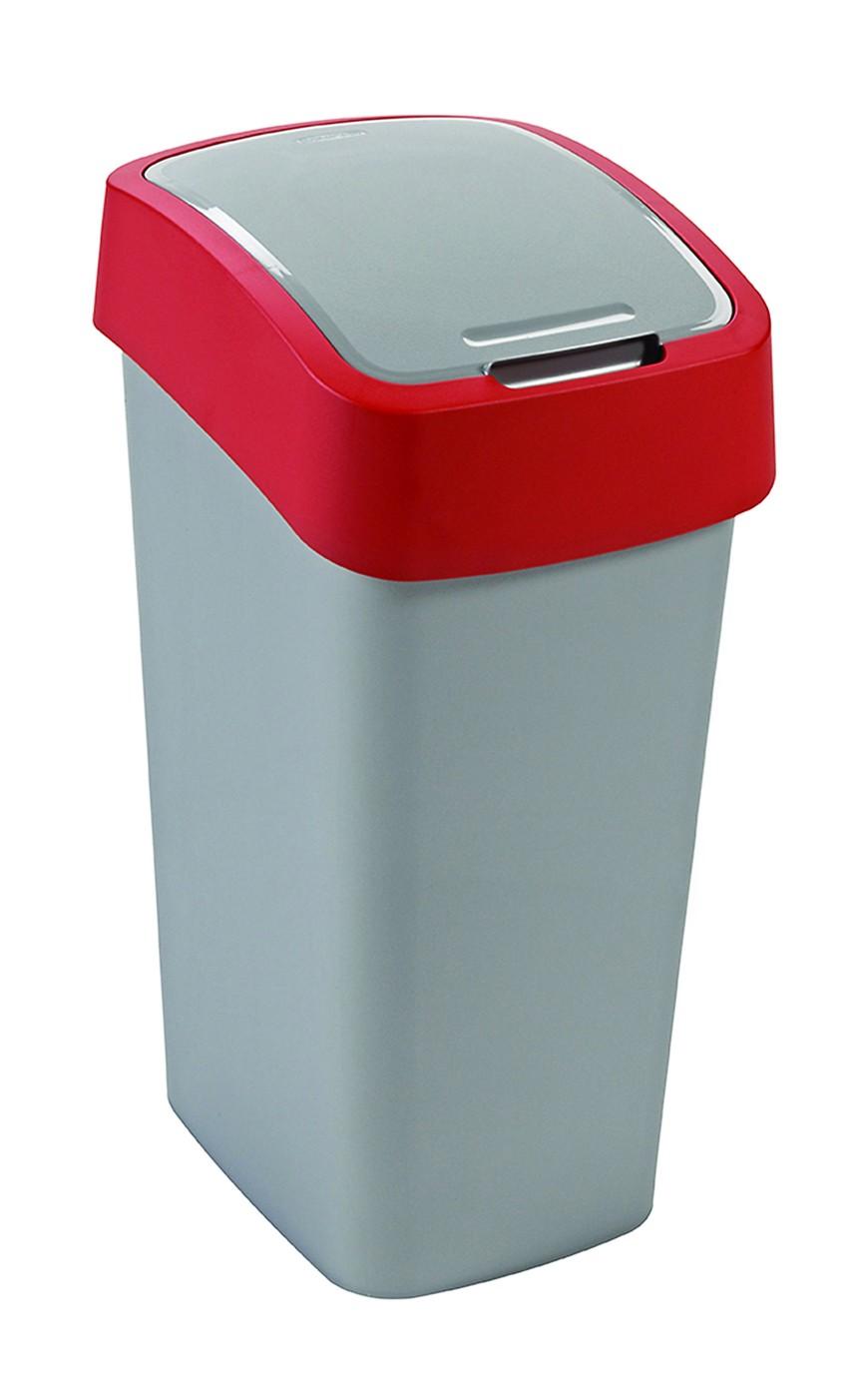Curver odpadkový koš, FLIP BIN, stříbrný/červený, 50l