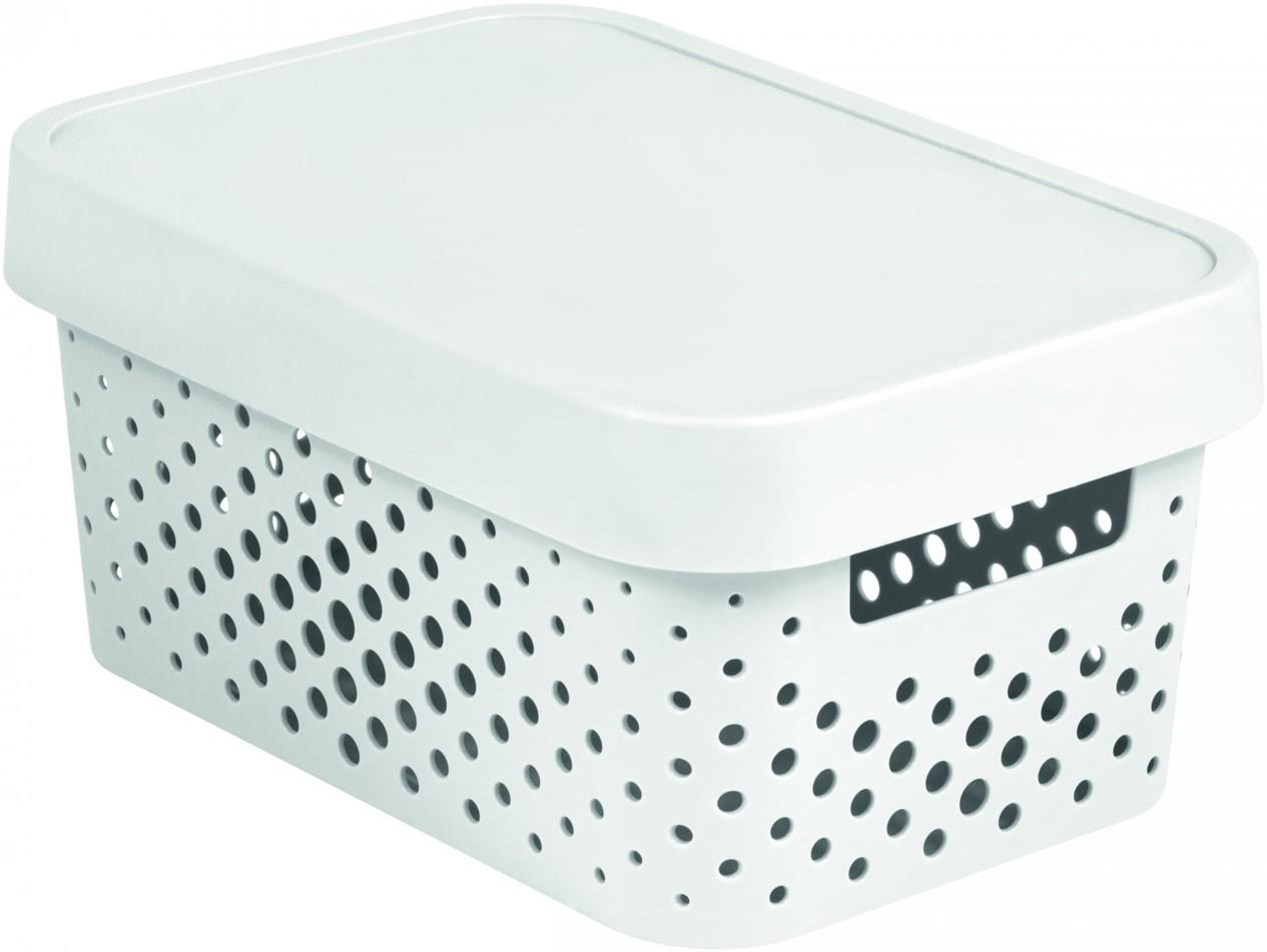 Curver Úložný box INFINITY 4,5l s víkem bílý puntíky