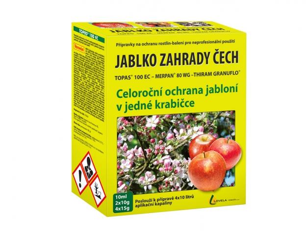 Fungicid JABLKO ZAHRADY ČECH 4x15g+2x10g+10ml