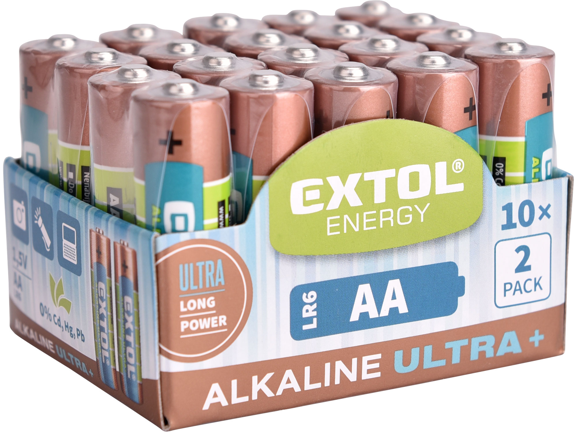 Baterie alkalické, 20 ks, 1,5V AA (LR6) EXTOL ENERGY 42013