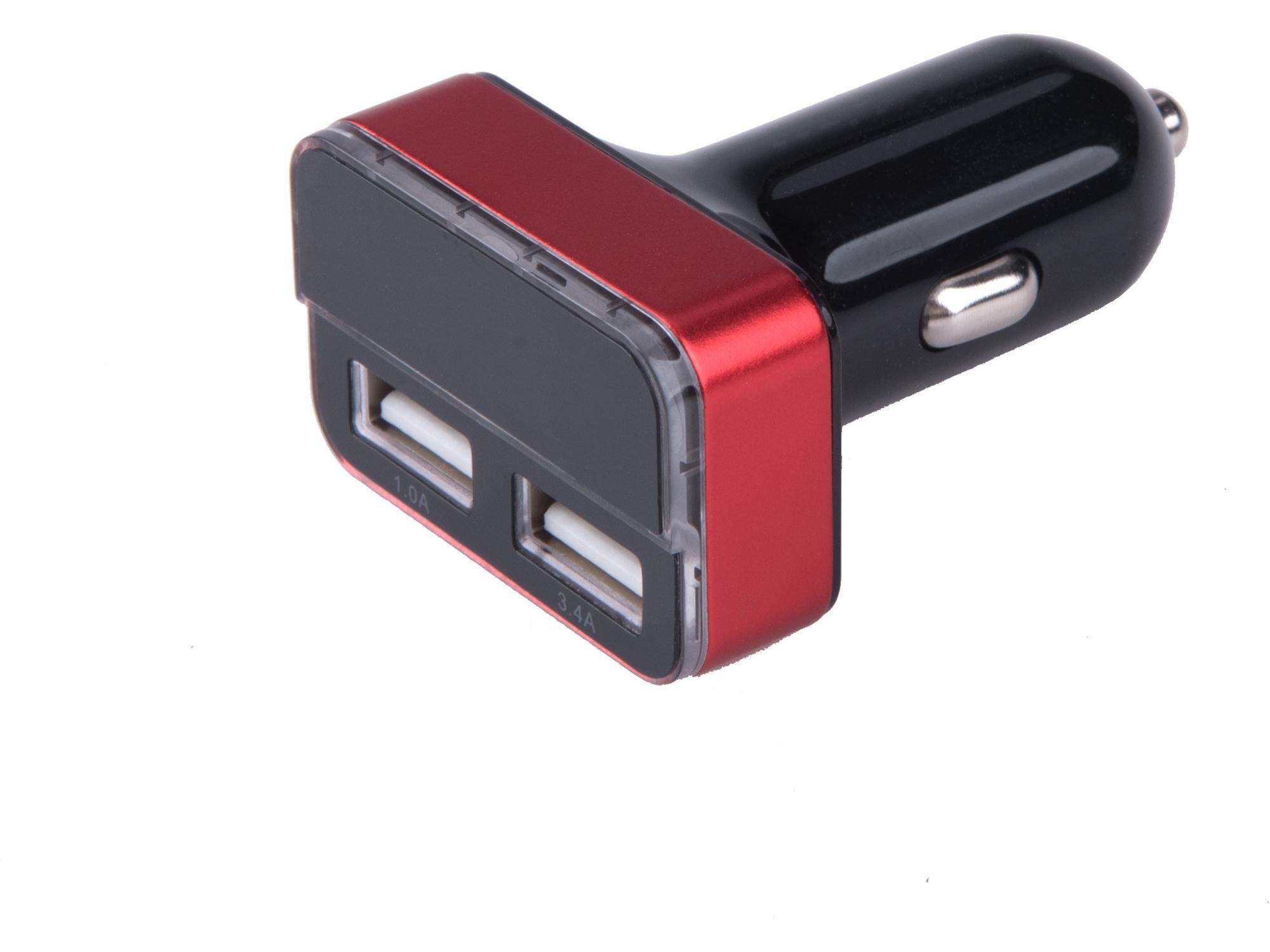 Nabíječka USB do auta, 12/24V, 2xUSB, měřič, 3,4A, 17W EXTOL ENERGY 42084