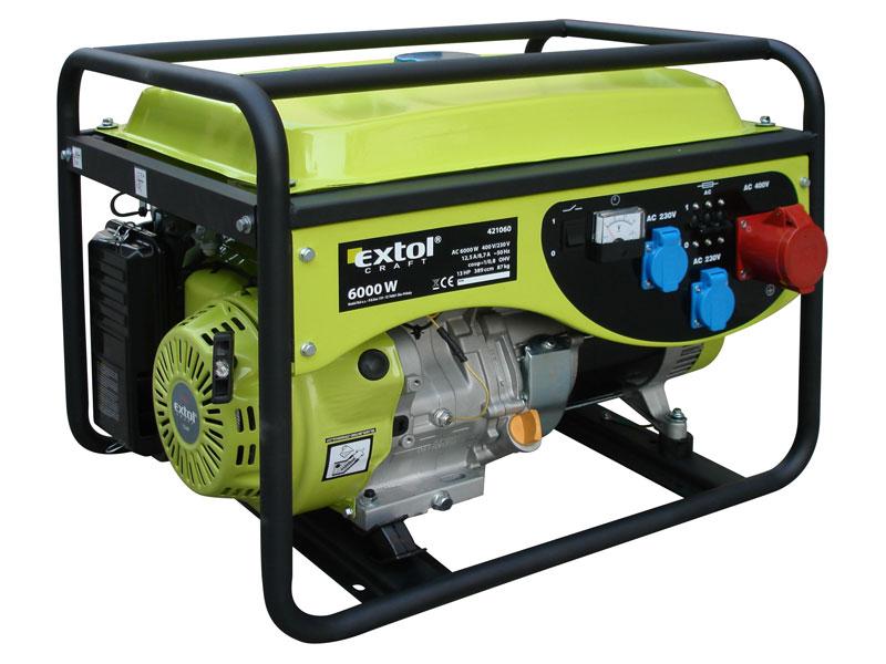 Elektrocentrála benzínová 13HP, 3f, 6,0kW (400V)/2,2kW (230V), EXTOL CRAFT 421060