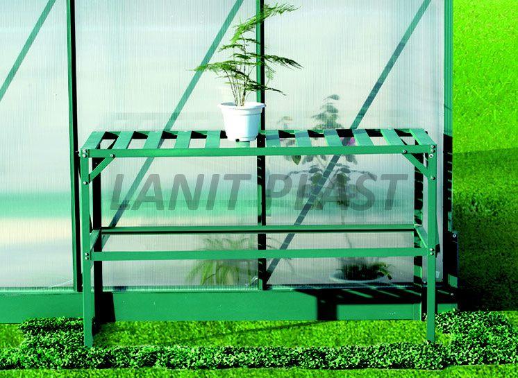 Regál Al dvoupolicový zelený (126x50cm) LanitGarden