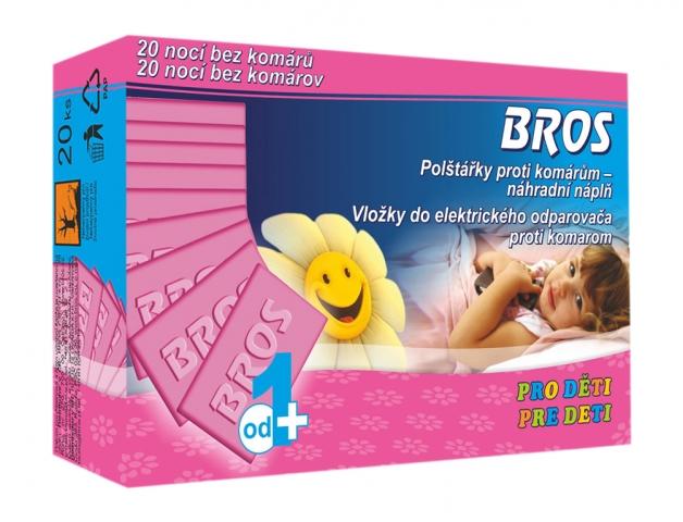 Náplň BROS polštářky odpařovače pro děti proti komárům 20ks