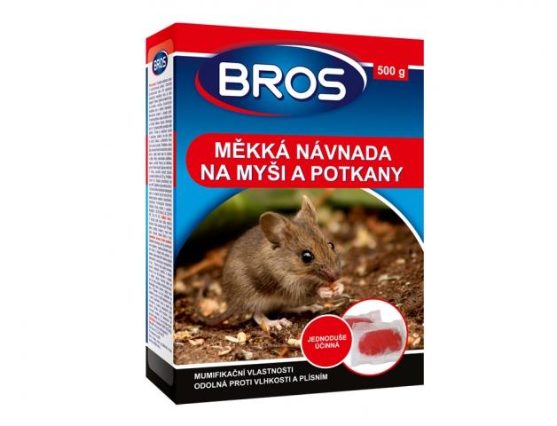 Rodenticid BROS měkká návnada na myši, krysy a potkany 500g