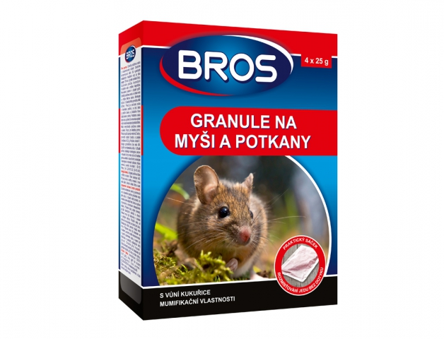 Rodenticid BROS granule na myši, krysy a potkany 4x25g