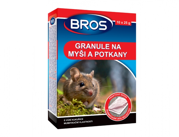 Rodenticid BROS granule na myši, krysy a potkany 10x25g