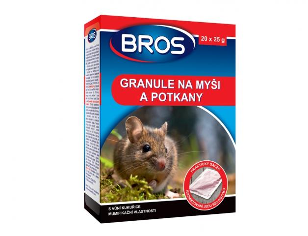 Rodenticid BROS granule na myši, krysy a potkany 20x25g