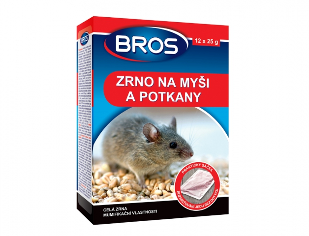 Rodenticid BROS zrno na myši, krysy a potkany 12x25g