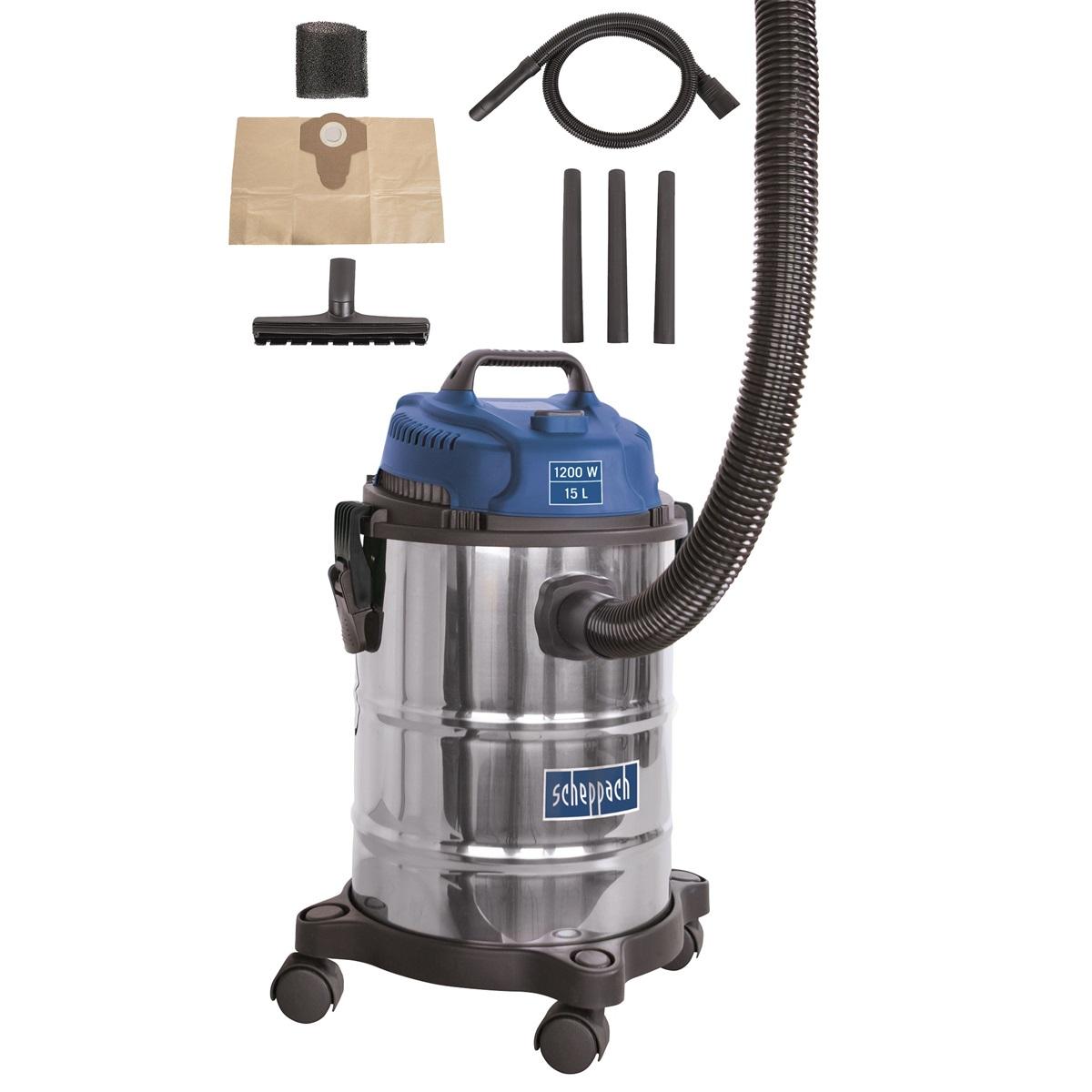 Průmyslový vysavač na suché / mokré vysávání 15 l Scheppach ASP 15 ES
