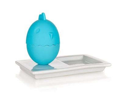2v1 Silikonový kalíšek na vajíčka s talířkem 13,8x8,8cm COLOR PLUS BLUE
