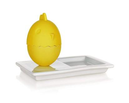 2v1 Silikonový kalíšek na vajíčka s talířkem 13,8x8,8cm COLOR PLUS YELLOW