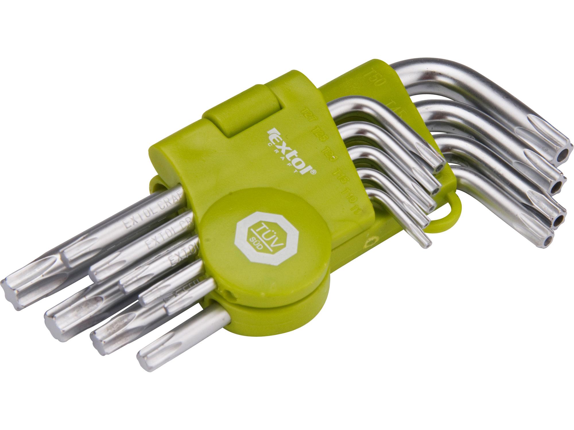 L-klíče TORX, sada 9ks, T 10-50mm, krátké, vrtané EXTOL CRAFT 66010