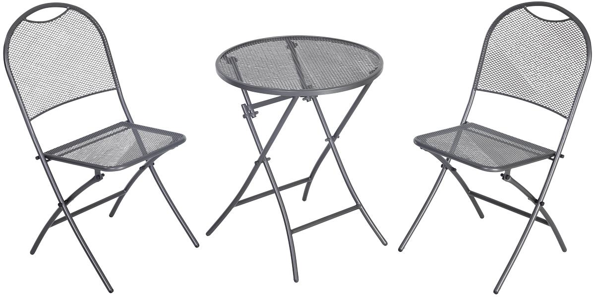 Balkonový set 2x židle (55 x 46 x 89 cm) + 1x kulatý stůl (pr. 60 cm) MWH Café Latte