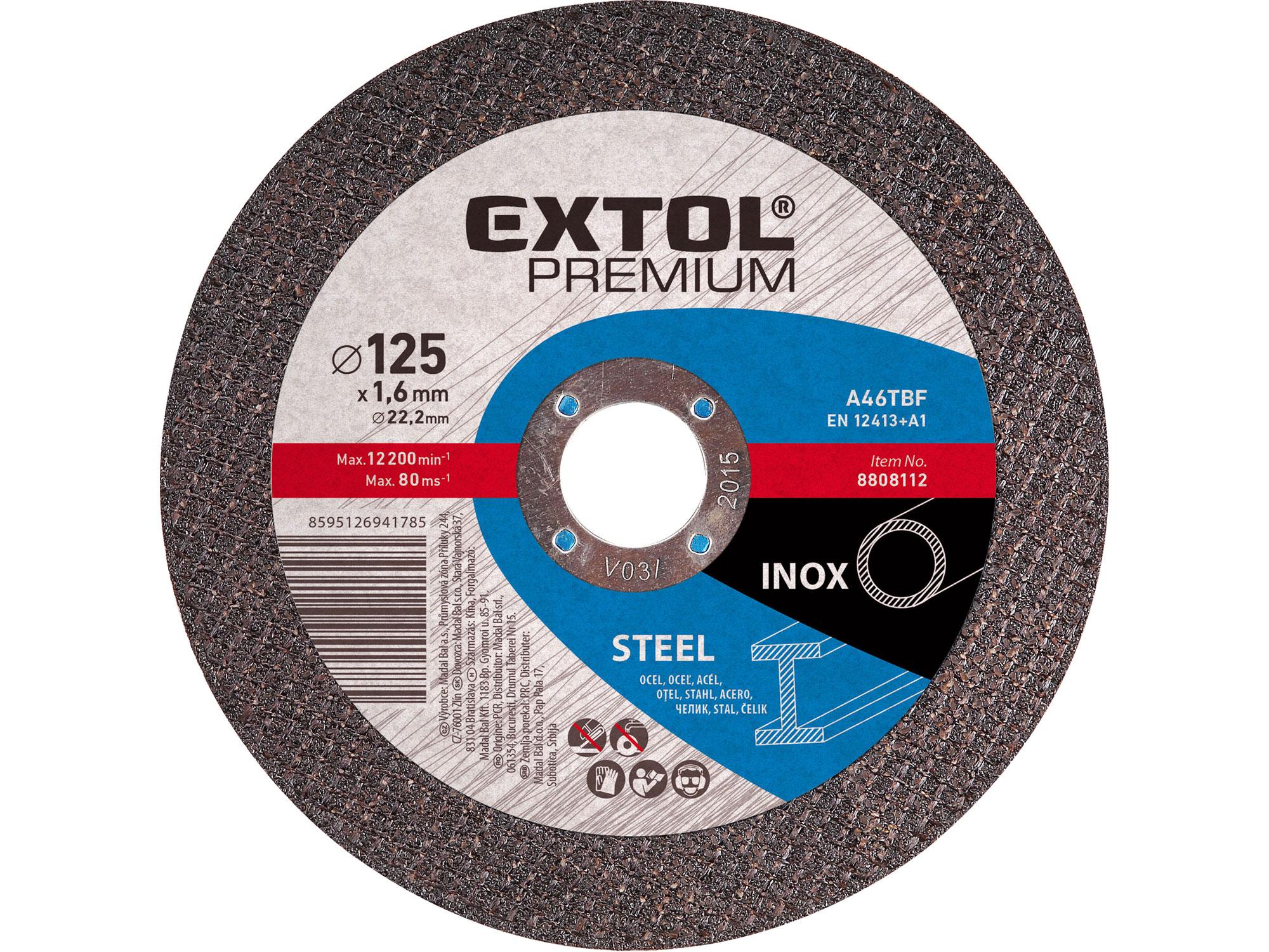 Kotouč řezný na ocel/nerez, 115x1,0x22,2mm EXTOL PREMIUM 8808100