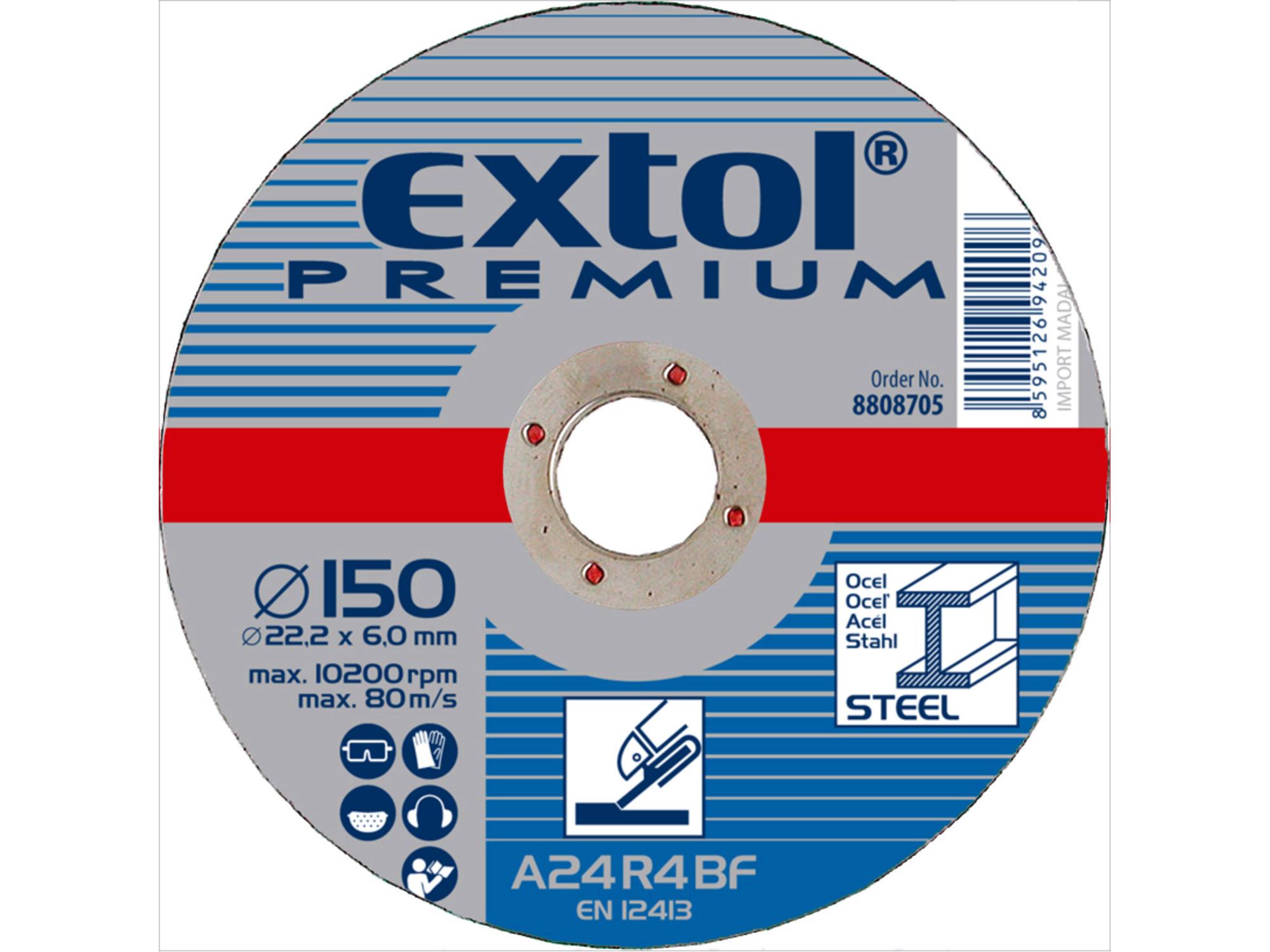 Kotouč brusný na ocel, 125x6,0x22,2mm EXTOL PREMIUM 8808702
