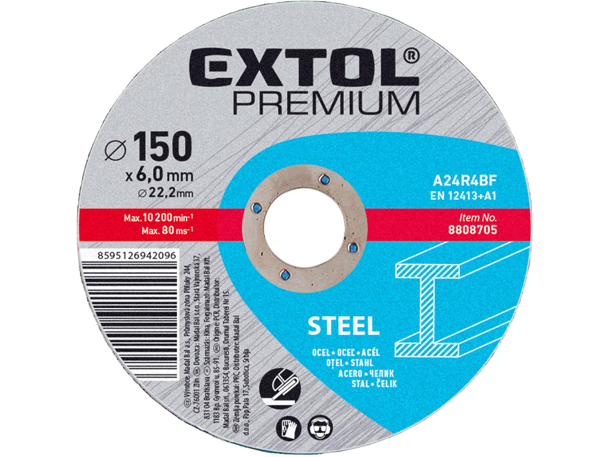 Kotouč brusný na ocel, 150x6,0x22,2mm EXTOL PREMIUM 8808705