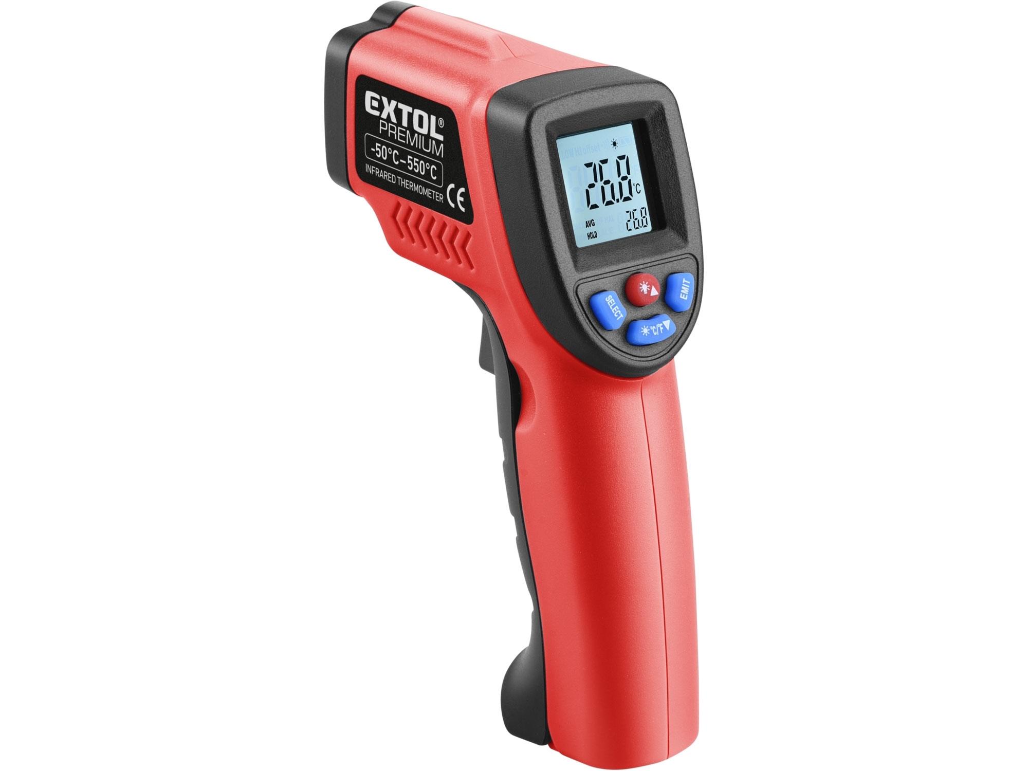 Teploměr bezkontaktní IR průmyslový, -50°až 550°C, -50°až 550°C EXTOL PREMIUM 8831302