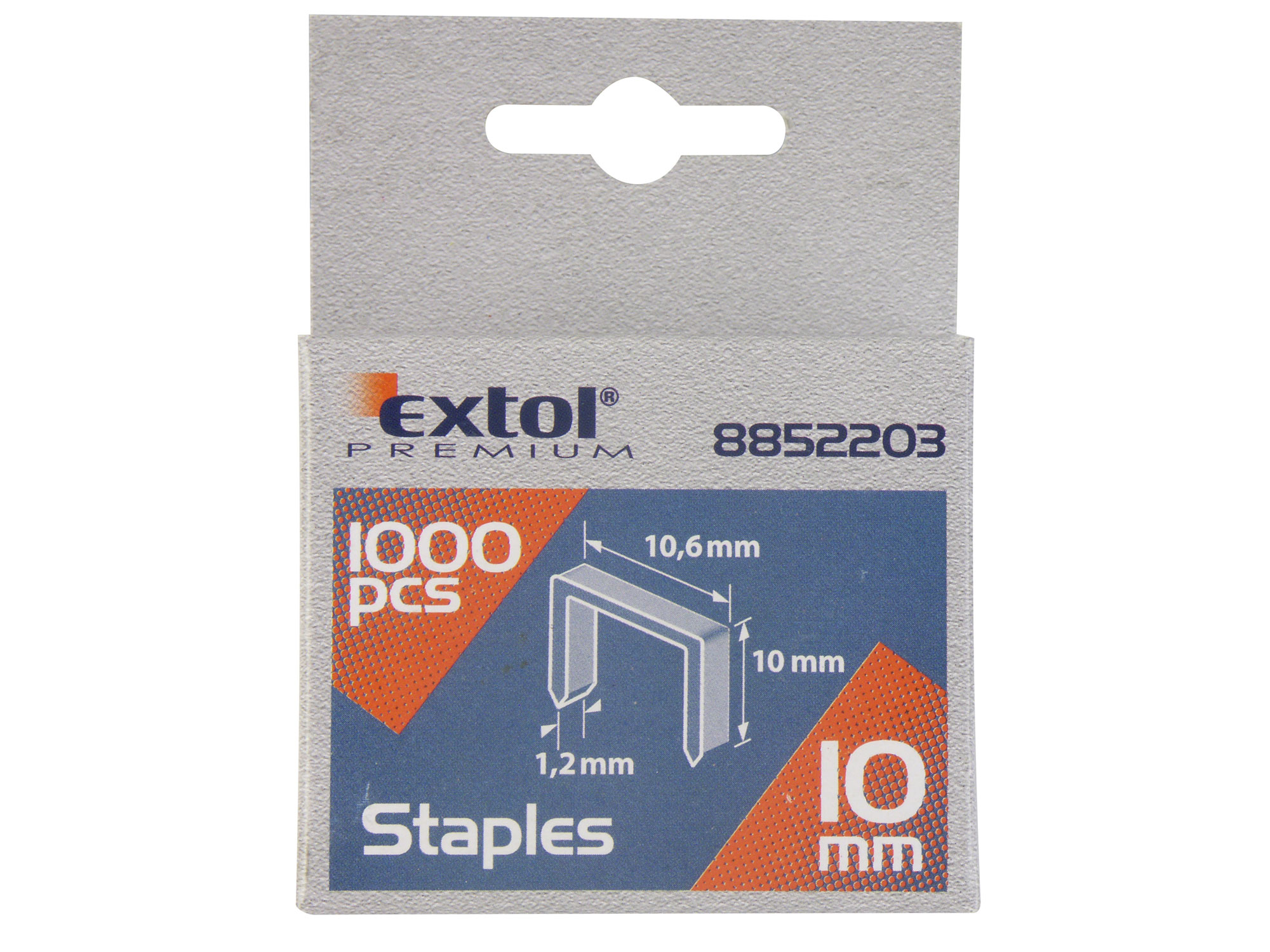Spony, balení 1000ks, 6mm, 10,6x0,52x1,2mm EXTOL PREMIUM 8852201
