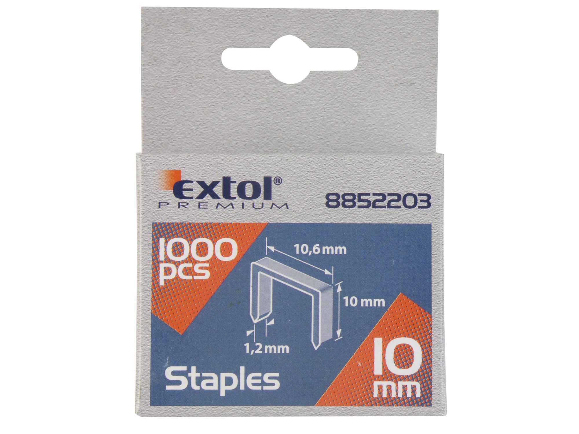 Spony, balení 1000ks, 10mm, 10,6x0,52x1,2mm EXTOL PREMIUM 8852203