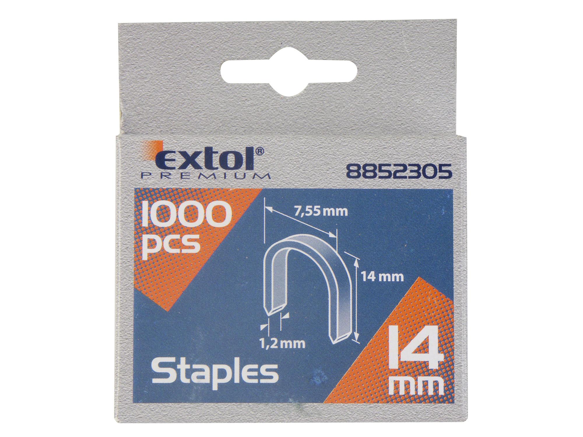 Spony oblé, balení 1000ks, 14mm, 7,55x0,52x1,2mm EXTOL PREMIUM 8852305