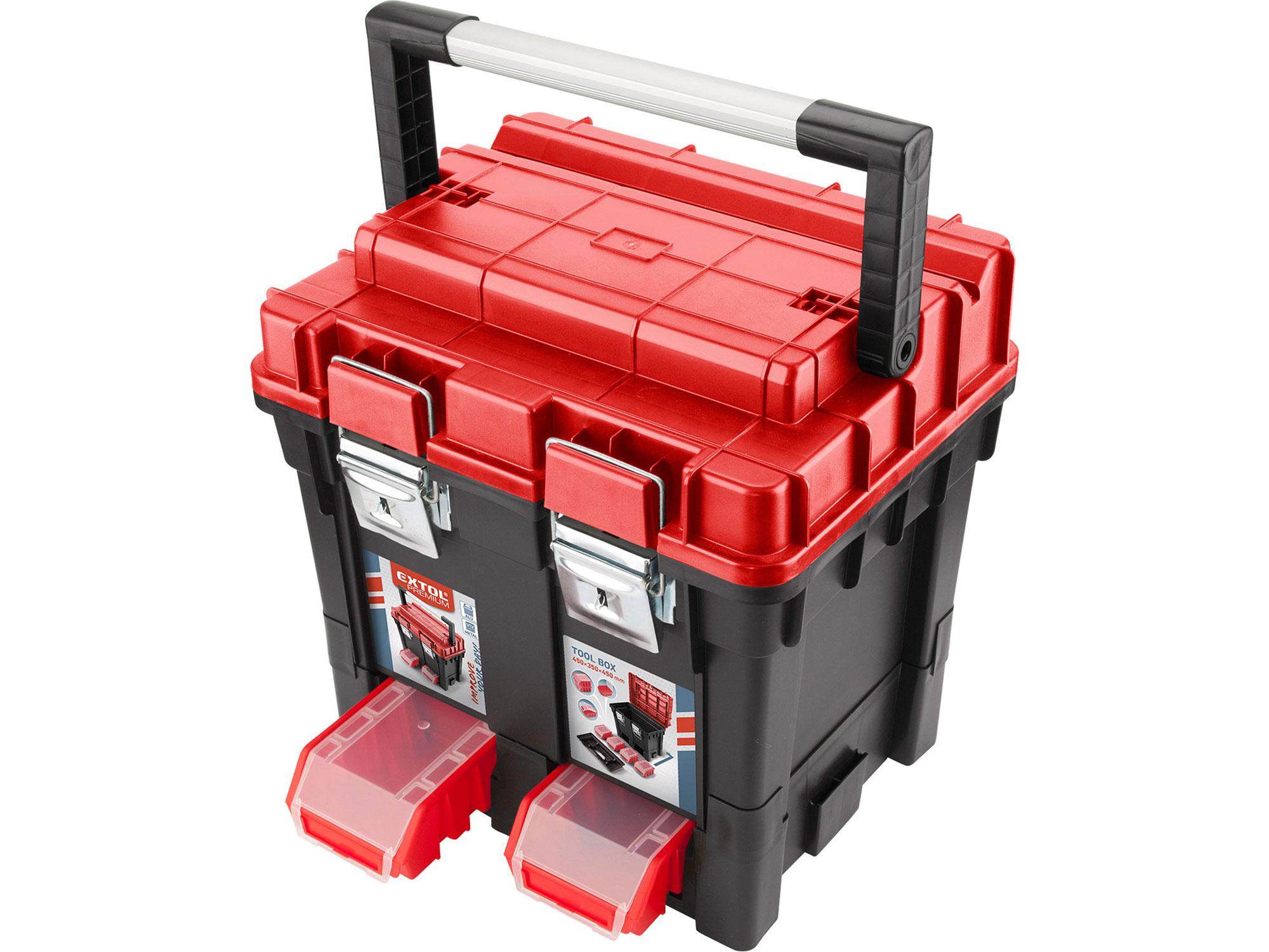 Kufr na nářadí HD, 450x350x450mm, AL rukojeť, kov.přezky EXTOL PREMIUM 8856083