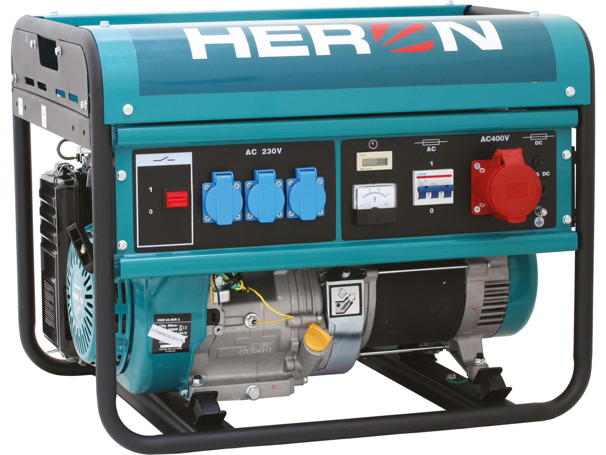 Elektrocentrála benzínová 13HP/6,0kW (400V) 2,2kW (230V) EGM 60 AVR-3 HERON 8896112