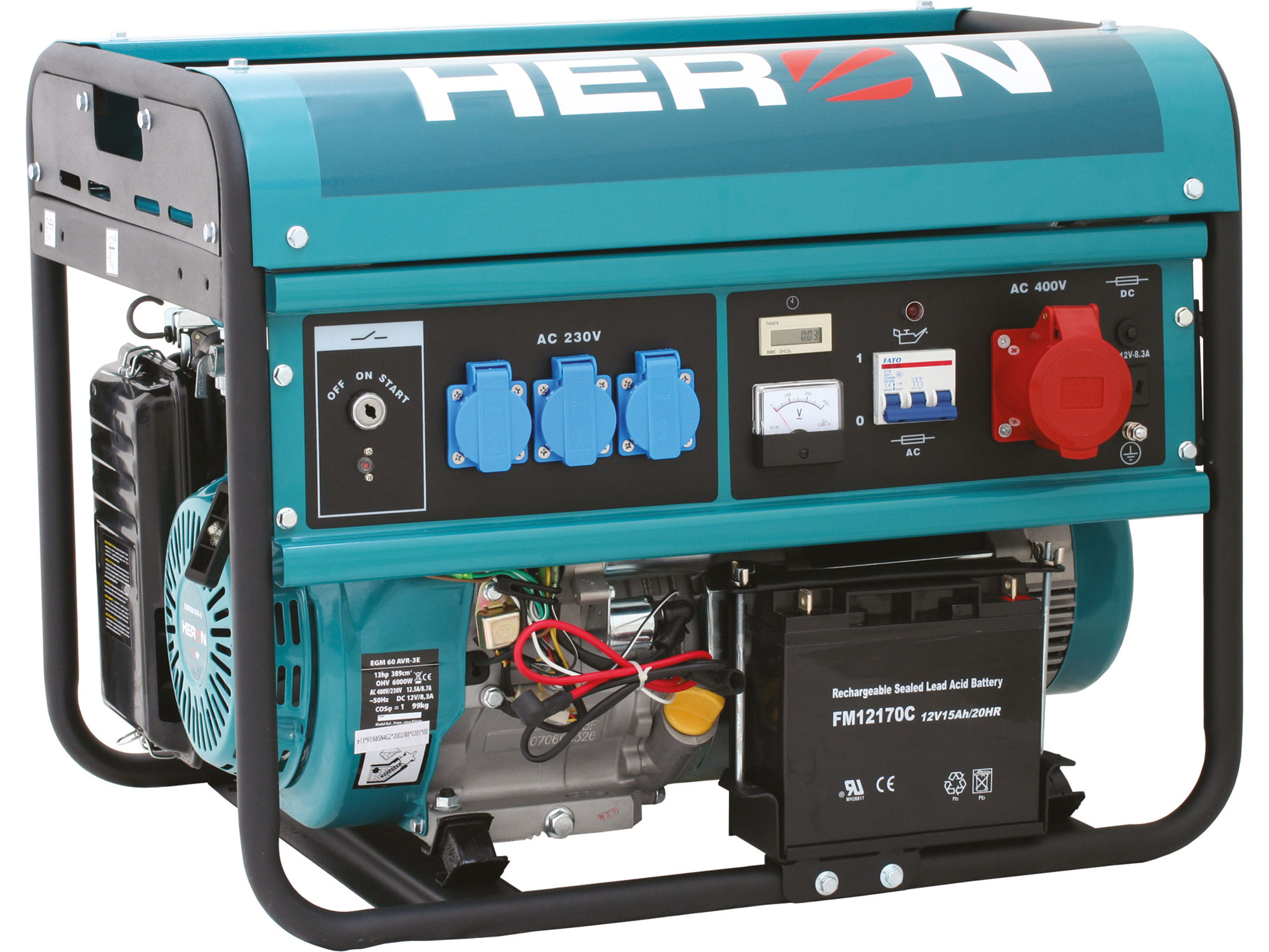 Elektrocentrála benzínová 13HP/6,0kW (400V) 2,2kW (230V), elektrický start EGM 60 AVR-3E H