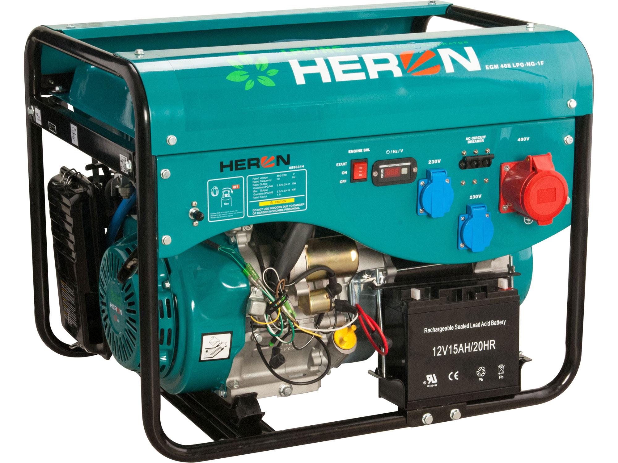 Elektrocentrála benzínová a plynová (LGP/NG) 13HP/5,3kW (400V) 2x2,1kW (230V), elektrický