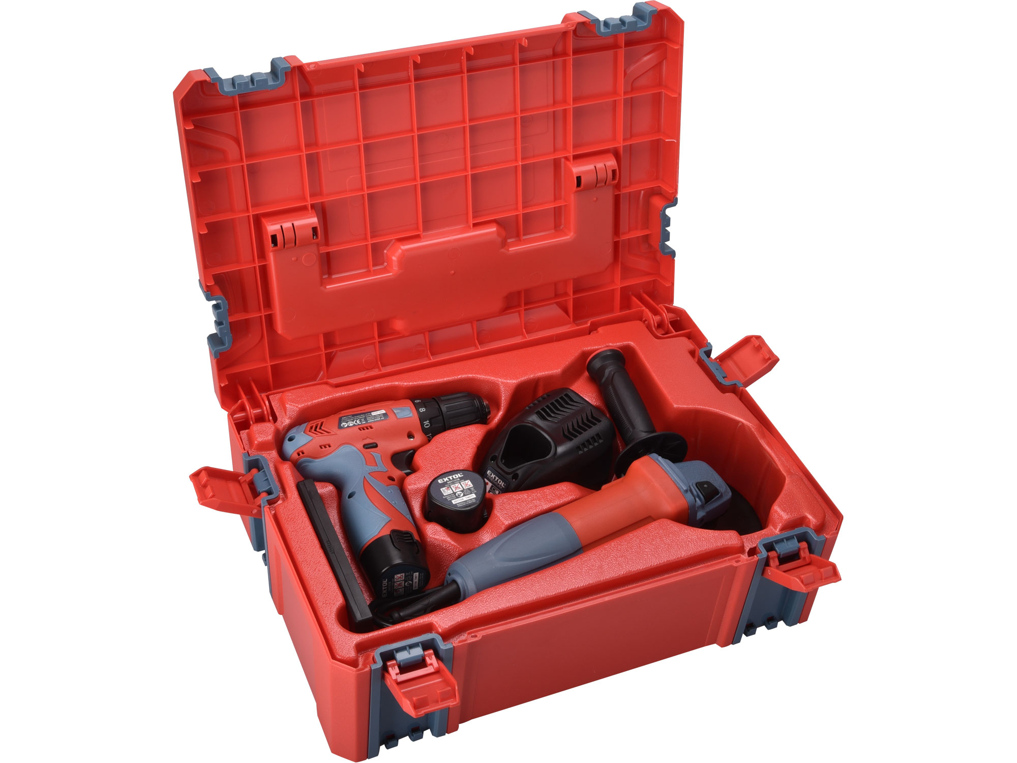 Vrtačka aku, 12V Li-ion (2x) a bruska úhlová 125mm v plastovém boxu EXTOL PREMIUM 8898311
