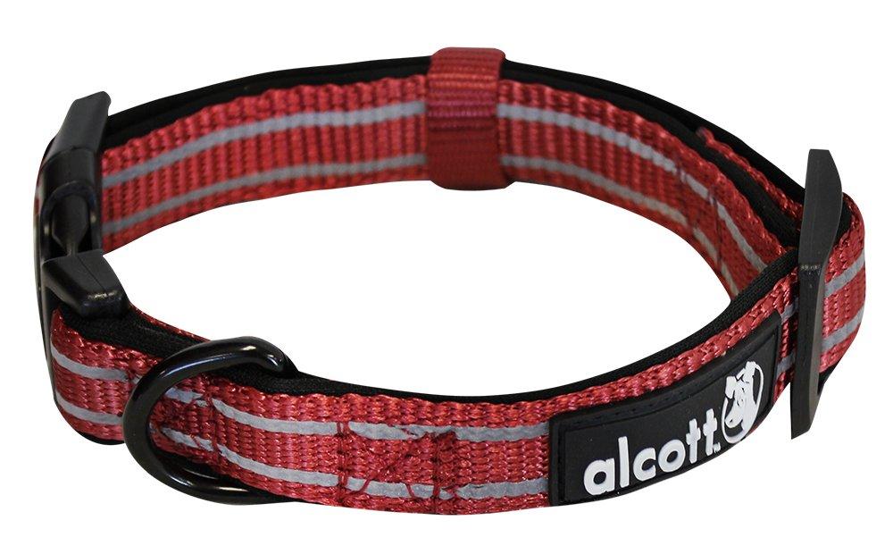 Alcott reflexní obojek pro psy, červený, velikost M