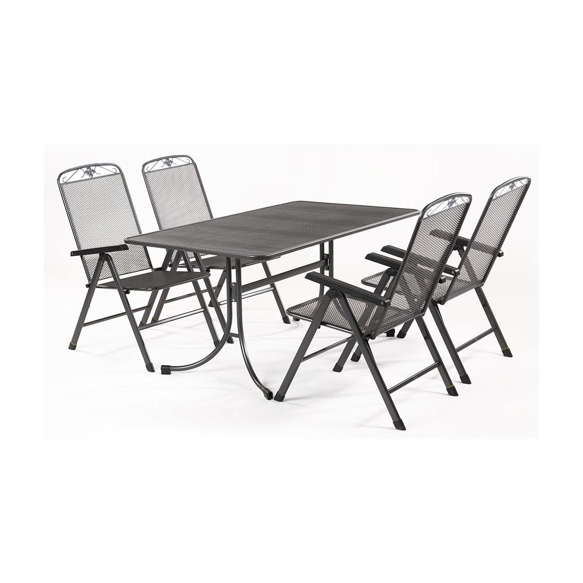 Sestava nábytku z tahokovu (4x pol. křeslo Savoy, 1x stůl Universal 160) MWH Basanis 4+