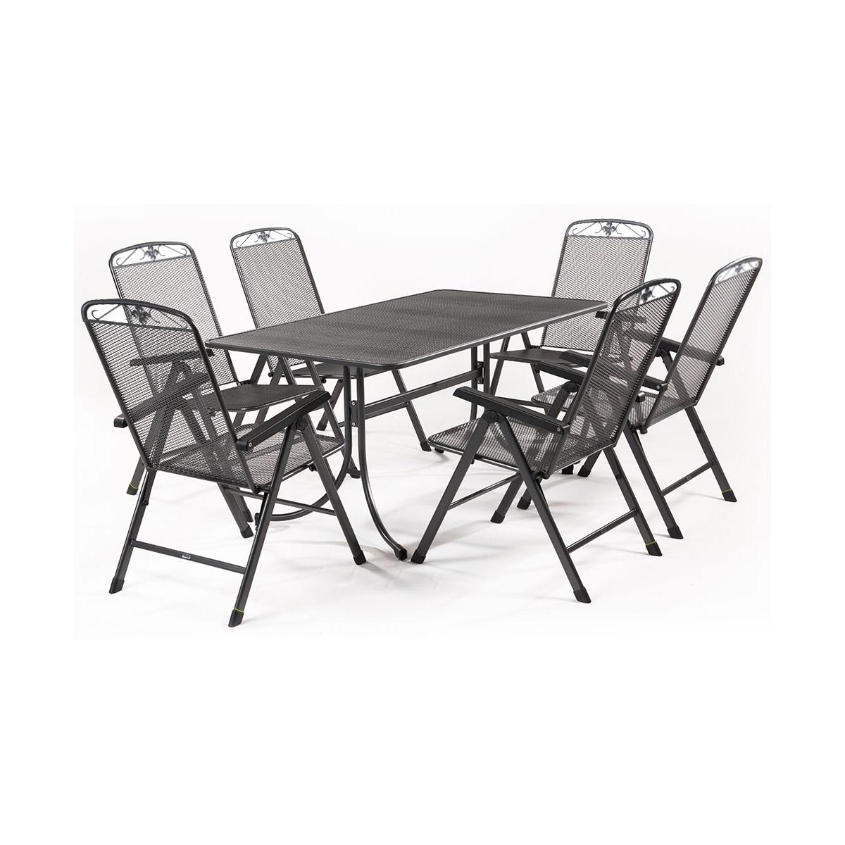 Sestava nábytku z tahokovu (6x pol. křeslo Savoy, 1x stůl Universal 160) MWH Basanis 6+