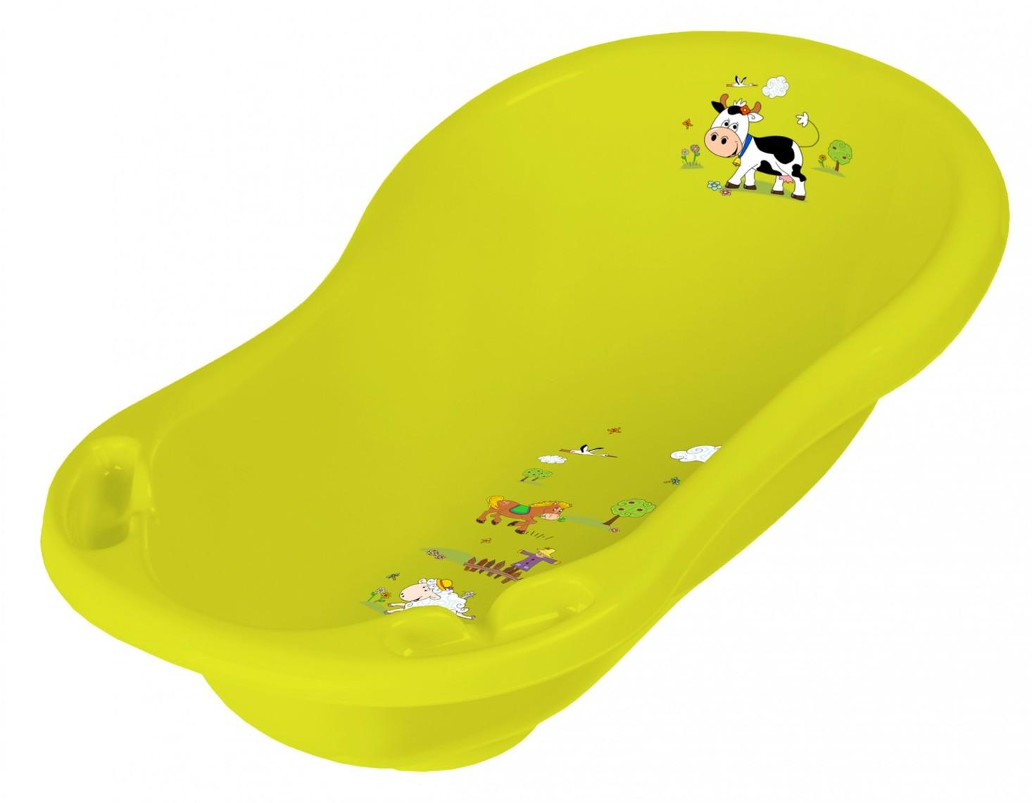 Keeeper Dětská vanička wiktoria, Funny farm, žlutozelená, 100 cm