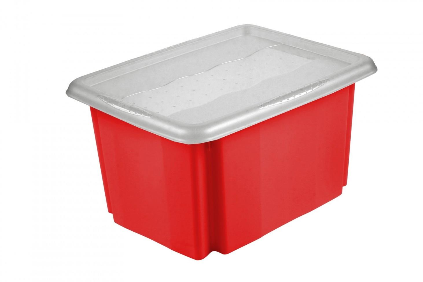 Keeeper Úložný box s víkem Emil & Emilia, červený 30L