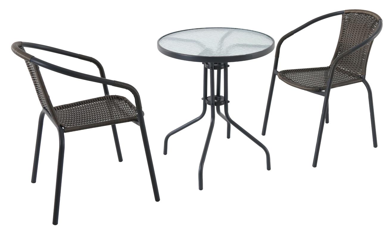 Kovový kruhový stůl se dvěma stohovatelnými židlemi Garland Pikolo set