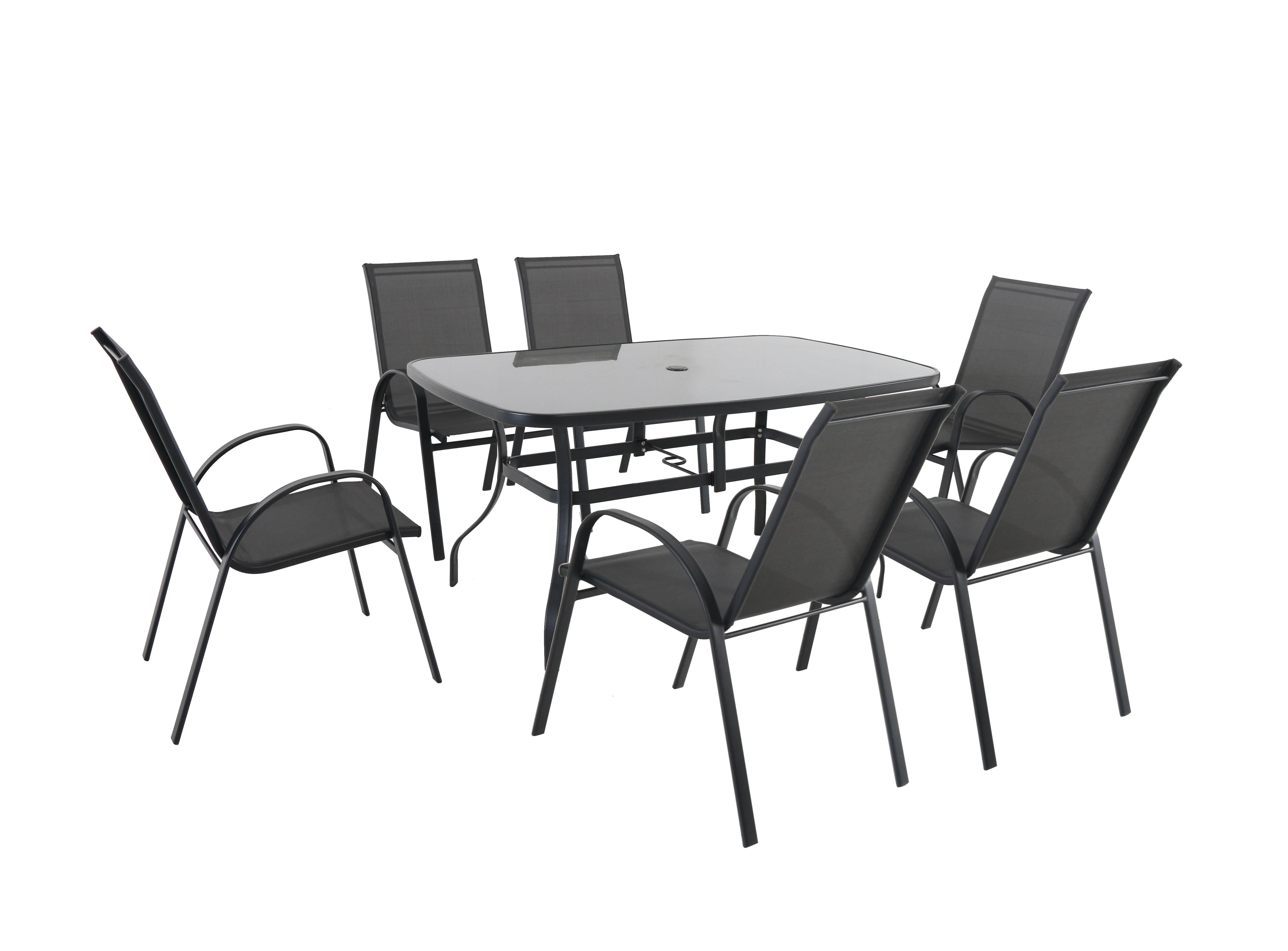 Sestava nábytku z kovu (6x židle + 1x stůl) Garland Verona 6+